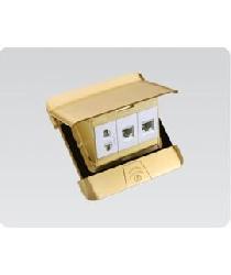Bộ âm sàn 3 modul DOBO gồm ổ cắm 2 chấu và hạt mạng + điện thoài F66-886606